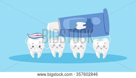 Dental Care With Cute Healthy White Teeth And Toothpaste Cartoon Vector Illustration For Children De