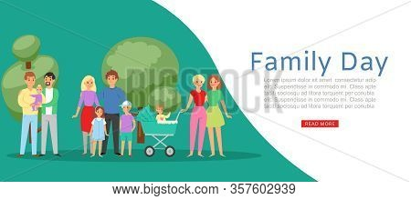 Family Day With Traditional Family Father Mother Daughter, Son And Homosexual Couples With Baby Vect