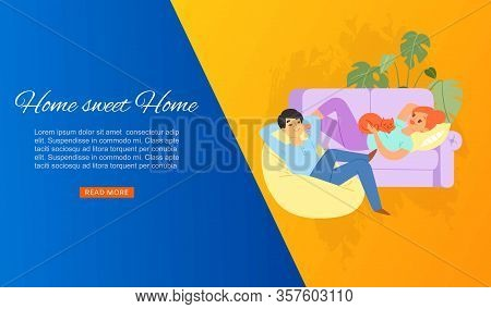 Young Couple At Home, Man And Woman Sit On Cosy Couch With Cat In The Home Atmosphere Cartoon Vector