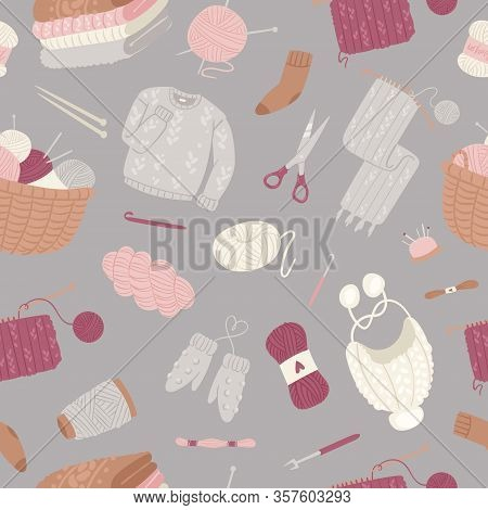 Knitting And Knitwear Seamless Pattern With Threads, Knitted Scarf, Cap, Sweater, Yarn Balls And Bas