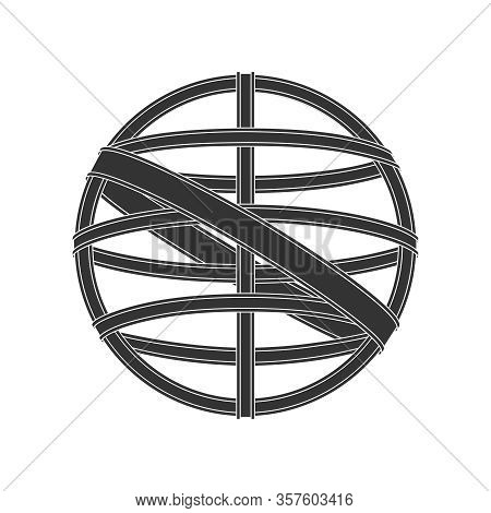 Armillary Sphere Graphic Icon Isolated On White Background. Symbol Vintage Navigation Device Armilla