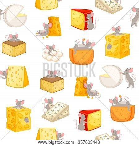 Mice And Pieces Of Cheese Seamless Pattern Vector Cartoon Illustration Of Mouse Happily Nibbling On