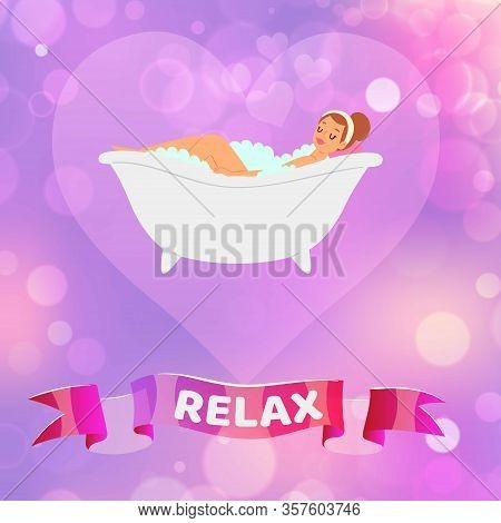 Relax Woman, Beautiful Young Brunette Girl Having A Relaxing Bubble Bath In Vintage Bathtub Cartoon