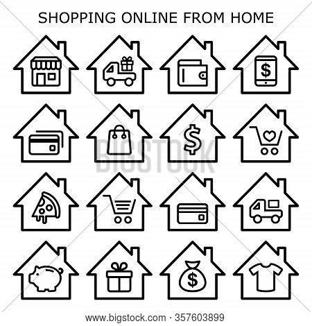 Shopping Online From Home Vector Icons Set, Online Store, Retail, Take Away, Ordering Food Online, H