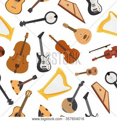 Stringed Musical Instrument With Strings, Bluegrass Mandolin, Banjo And Lute, Guitar Seamless Patter