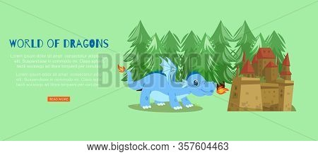 Word Of Fairy Dragons With Medieval Castle And Magical Dragon Spitting Fire Cartoon Vector Illustrat