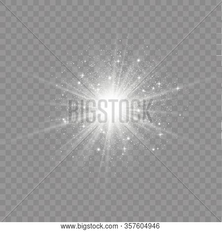 Set Of Bright Stars On A Transparent Background. Sparkling Magic Dust Particles. Set Of White Glowin