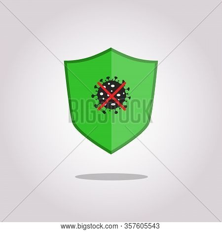 Immune System Vector Icon Logo. Health Bacteria Virus Protection. Medical Prevention Human Germ. Boo