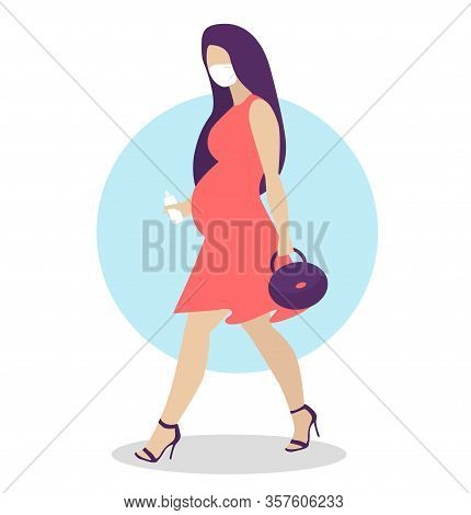 Pregnant Woman Walking In Corall Dress. Active Well Dressed Pregnant Female Character.