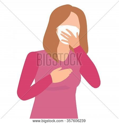 Illustration Of A Girl In Mask Holding Her Mouth Sneeze. Sneezing During Novel Coronavirus 2019-ncov