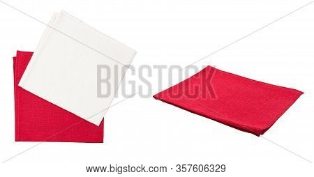 Set Of Napkin Napkins Top View Isolated On White Background, Mock Up Napkin, Red White Napkins