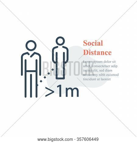 Social Distance, Keep Away, Avoid Contact, Self Isolation, Two People Standing, Vector Line Icon