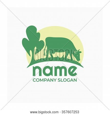 Farm Animal Logo, Icon With Cow. Agro Company Logo. Cow In A Meadow With Green Grass. Vector Nature