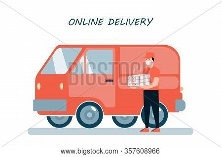 Poster Concept For Online Pizza Delivery. Restaurant Or Supermarket Delivering Pizza At Doorstep In