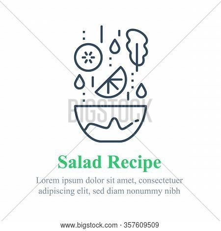Delicious Vegetable Salad, Simple Recipe, Eat Healthy Food, Full Bowl, Falling Ingredients, Nutritio