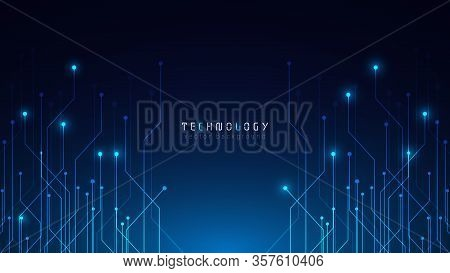 Futuristic Blue Abstract Circuit Technology Cyberspace Vector Background,speed Data Transfer Backgro
