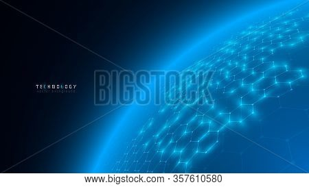 Modern Blue Cyberspace Global Abstract Hexagon Net Technology Background,futuristic Hexagon Tech Bac