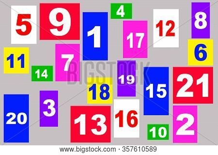 Colcolored Numbers For Children. Education In Kindergarten. Color Numbers From 1 To 20.ored Numbers