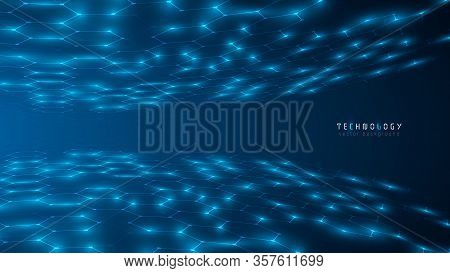 Blue Global Abstract Hexagon Net Technology Background,futuristic Hexagon Tech Background,cyberspace