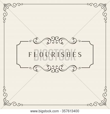 Retro Wedding Invitations, Advertising Or Other Design And Place For Your Text. Flourishes Frame. Vi
