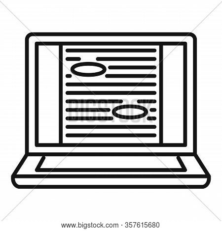 Laptop Editor Icon. Outline Laptop Editor Vector Icon For Web Design Isolated On White Background