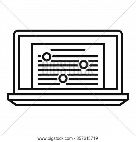 Online Laptop Editor Icon. Outline Online Laptop Editor Vector Icon For Web Design Isolated On White