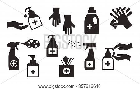 Disinfection. Hand Hygiene. Set Of Hand Sanitizer Bottles, Washing Gel, Spray, Wet Wipes, Liquid Soa