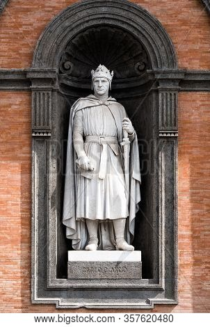 Carlo Dangio Statue At The Entrance Of Royal Palace In Naples, Called The Norman. He United Under A