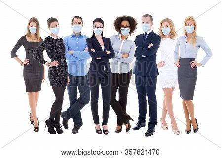 Coronavirus, Pandemic, Quarantine, Health Care And Office Work Concept - Large Set Of Business Peopl