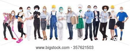 Coronavirus, Pandemic, Health Care And Unemployment Concept - Set Of Different People In Protective