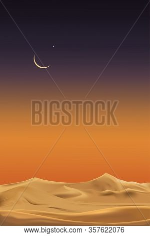 Vertical Desert Landscape With Sand Dunes With Crescent Moon And Star At Dark Night,vector Minimalis