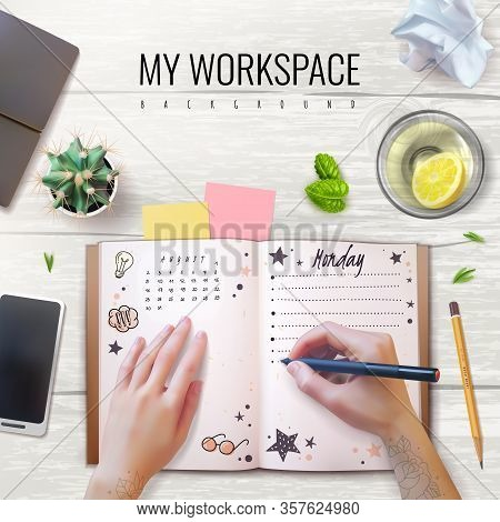 Realistic Desktop Workplace Mockup Diary Identity. Realistic Workplace. Desktop Top View. Pencil, Sm
