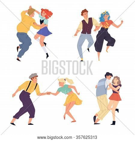 Vector Illustration Of Couples Dancing Twist Set. Young Man And Woman Dance On Retro Party Or Nostal