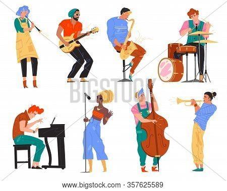 Vector Illustration Of Jazz Music Band. Man, Woman, Guitarist, Saxophonist, Drummer, African Singer,