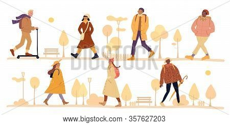 Vector Happy Couple Walks Autumn Park Set. Young Woman And Man Walking In City Center Recreational A