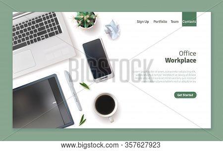 Realistic Desktop Workplace Mockup Identity Landing Page