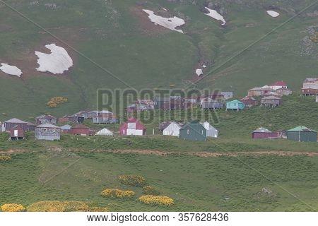 Mountain Valley Village Landscape Summer. Mountain Village View. Village In Mountains. Mountain Vall