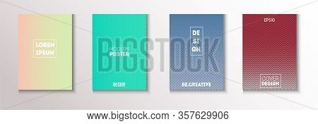 Folded Minimal Cover Vector Set. Glam Magazine Page. Textured Gradient Overlay Business Folder. 80s
