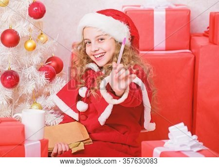 Child Write Letter To Santa Claus. Child Santa Costume Believe In Miracle. Letter For Santa. Wish Li