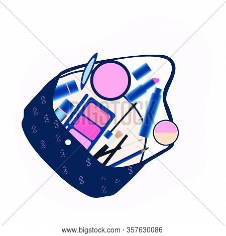 Makeup Tools And Cosmetics Beauty Elements On Hand Bag