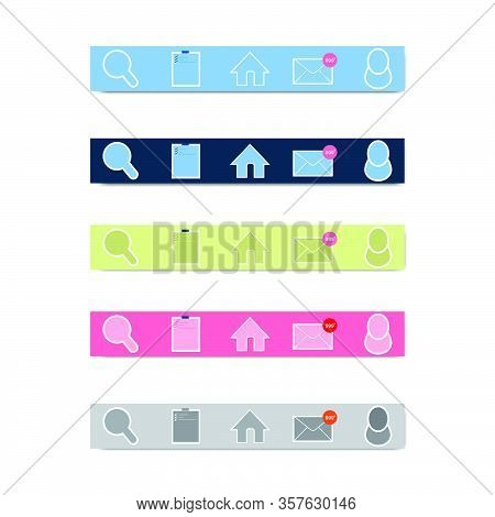 App Icon Layout Bottom Position On Smart Phone Device With Different Color. Flat Design Icon