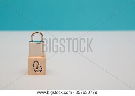 Finance Security. Money Safety. Gdpr. Savings Under Guard. Encryption Safeguard. Wooden Cube, Lock O