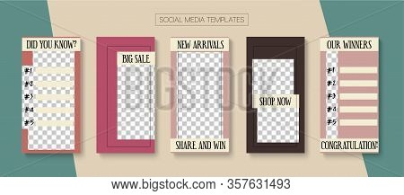 Social Stories Cool Vector Layout. Online Shop Luxury Graphic Mobile. Minimal Sale, New Arrivals Sto