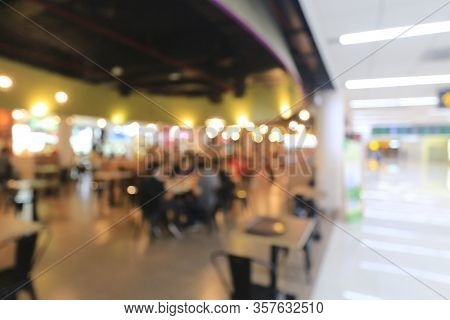 Abstract Blur Restaurant Interior With No People During Covid 19 Virus For Background