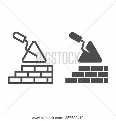 Brickwork And Trowel Line And Solid Icon. Spatula Tool And Building Brick Wall Symbol, Outline Style