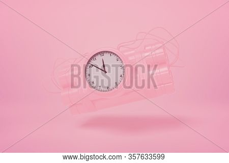 3d Rendering Of Pastel Pink Dynamite Bundle With Time Bomb Floating On Pink Background Of The Same C
