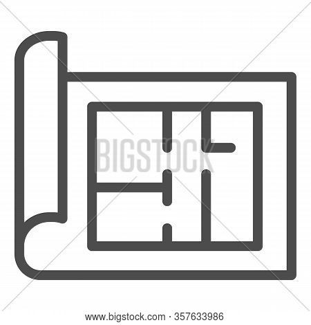 Building Project Line Icon. House Blueprint Paper Or Home Plan Page Symbol, Outline Style Pictogram