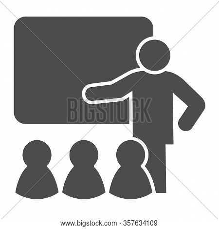 Lecturer Blackboard With Students Solid Icon. Lecture Or Training Lesson Symbol, Glyph Style Pictogr