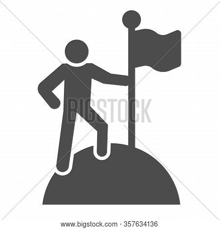 Man On Top Of Mountain With Flag Solid Icon. Discoverer, Victory Person Symbol, Glyph Style Pictogra