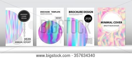 Holographic Gradient Vector Background. Hologram Minimal Light Covers Set. Dreamy Holo Bright Trendy